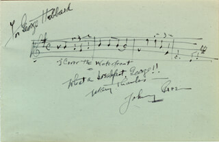 JOHNNY GREEN - INSCRIBED AUTOGRAPH MUSICAL QUOTATION SIGNED