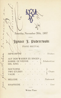 Autographs: IGNACY JAN PADEREWSKI - PROGRAM SIGNED 11/30/1907