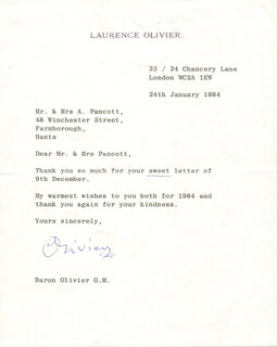 LAURENCE OLIVIER - TYPED LETTER SIGNED 01/24/1984