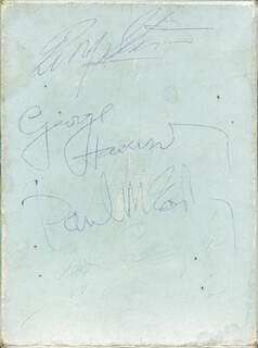 Autographs: THE BEATLES (PAUL McCARTNEY) - EPHEMERA SIGNED CO-SIGNED BY: THE BEATLES (RINGO STARR), THE BEATLES (GEORGE HARRISON)
