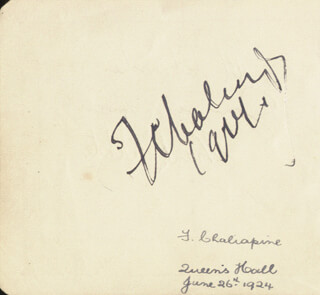 FEODOR IVANOVICH CHALIAPIN - AUTOGRAPH CIRCA 1924 CO-SIGNED BY: FRANK WEBSTER