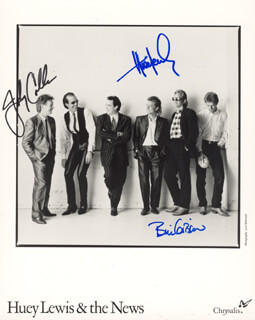 HUEY LEWIS & THE NEWS - AUTOGRAPHED SIGNED PHOTOGRAPH CO-SIGNED BY: HUEY LEWIS & THE NEWS (HUEY LEWIS), HUEY LEWIS & THE NEWS (JOHNNY COLLA), HUEY LEWIS & THE NEWS (BILL GIBSON)