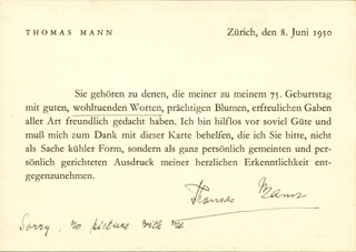 Autographs: THOMAS MANN - TYPED NOTE SIGNED 06/08/1950