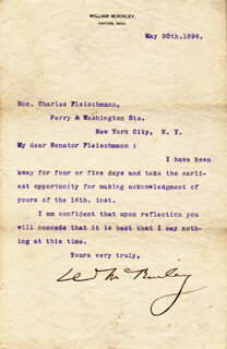 Autographs: PRESIDENT WILLIAM McKINLEY - TYPED LETTER SIGNED 05/20/1896