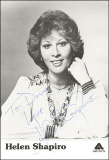 HELEN SHAPIRO - INSCRIBED PRINTED PHOTOGRAPH SIGNED IN INK