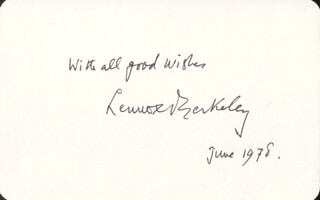SIR LENNOX BERKELEY - AUTOGRAPH SENTIMENT SIGNED 6/1978