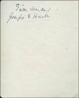 GORDON HARKER - AUTOGRAPH CO-SIGNED BY: JOSEPH C. HARKER, SIDNEY POINTER