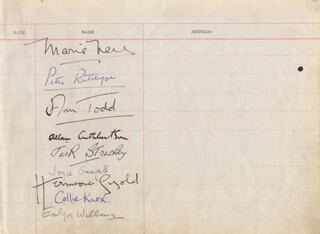 ANN TODD - AUTOGRAPH CO-SIGNED BY: STEWART GRANGER, JOYCE GRENFELL, KAY CAVENDISH, EMLYN WILLIAMS, HERMIONE GINGOLD, ALLAN CUTHBERTSON, JACK STRACHEY, COLLIE KNOX, ELSPETH MARCH