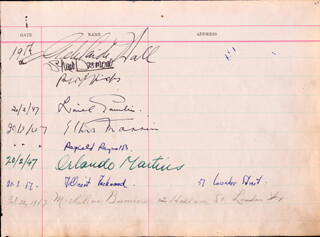 ADELAIDE HALL - AUTOGRAPH CIRCA 1947 CO-SIGNED BY: EMLYN WILLIAMS, REGINALD REYNOLDS, SHAW DESMOND, ORLANDO MARTINS, LIONEL POULIN, ETHEL MANNIN, MILLICENT LOCKWOOD, MICHELINA BUONOCORE, BASIL DEAN