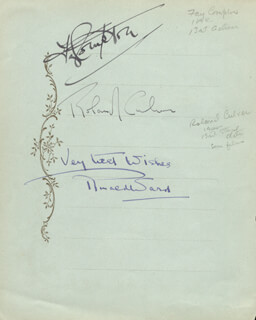 FAY COMPTON - AUTOGRAPH CO-SIGNED BY: RONALD WARD, FRANCES DILLON, GERALD LAWRENCE, ROLAND CULVER