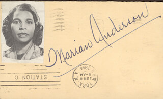 Autographs: MARIAN ANDERSON - POST CARD SIGNED
