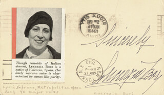 LUCREZIA BORI - POST CARD SIGNED CIRCA 1943