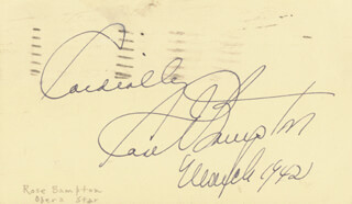 ROSE BAMPTON - AUTOGRAPH SENTIMENT SIGNED 03/1942