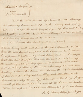 Autographs: CHIEF JUSTICE ROGER B. TANEY - AUTOGRAPH DOCUMENT SIGNED THREE TIMES 07/16/1813