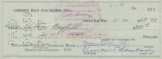 VINCE LOMBARDI - AUTOGRAPHED SIGNED CHECK 05/20/1959 CO-SIGNED BY: DOMINIC OLEJNICZAK, CLELLON BUDDY MAYFIELD