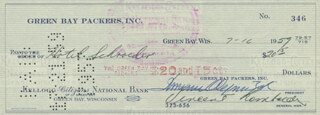 VINCE LOMBARDI - AUTOGRAPHED SIGNED CHECK 07/16/1959 CO-SIGNED BY: DOMINIC OLEJNICZAK