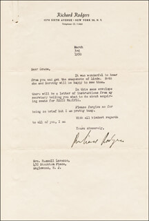 RICHARD RODGERS - TYPED LETTER SIGNED 03/03/1950