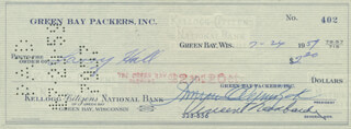VINCE LOMBARDI - AUTOGRAPHED SIGNED CHECK 07/24/1959 CO-SIGNED BY: DOMINIC OLEJNICZAK, LARRY HALL