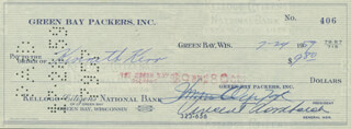 VINCE LOMBARDI - AUTOGRAPHED SIGNED CHECK 07/24/1959 CO-SIGNED BY: DOMINIC OLEJNICZAK, KENNETH KERR
