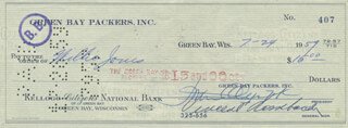 VINCE LOMBARDI - AUTOGRAPHED SIGNED CHECK 07/24/1959 CO-SIGNED BY: DOMINIC OLEJNICZAK, WILLIE JONES