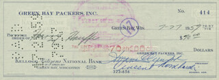 VINCE LOMBARDI - AUTOGRAPHED SIGNED CHECK 07/27/1959 CO-SIGNED BY: DOMINIC OLEJNICZAK, HARRY HANFFE
