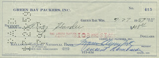 VINCE LOMBARDI - AUTOGRAPHED SIGNED CHECK 07/27/1959 CO-SIGNED BY: DOMINIC OLEJNICZAK, LEROY HARDEE