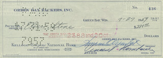 VINCE LOMBARDI - AUTOGRAPHED SIGNED CHECK 07/27/1959 CO-SIGNED BY: DOMINIC OLEJNICZAK, ELMER STONE