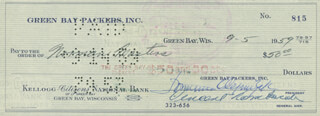 VINCE LOMBARDI - AUTOGRAPHED SIGNED CHECK 09/05/1959 CO-SIGNED BY: DOMINIC OLEJNICZAK, NORM MASTERS