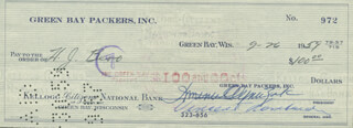 VINCE LOMBARDI - AUTOGRAPHED SIGNED CHECK 09/26/1959 CO-SIGNED BY: DOMINIC OLEJNICZAK, H.J. BERO