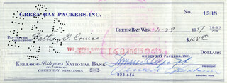 VINCE LOMBARDI - AUTOGRAPHED SIGNED CHECK 11/29/1959 CO-SIGNED BY: DOMINIC OLEJNICZAK, WALTER G. WALLY CRUICE