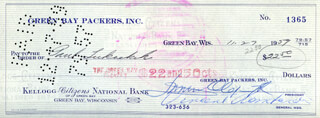 VINCE LOMBARDI - AUTOGRAPHED SIGNED CHECK 11/29/1959 CO-SIGNED BY: DOMINIC OLEJNICZAK, PAUL LUKACHEK