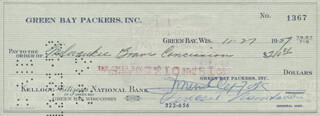 VINCE LOMBARDI - AUTOGRAPHED SIGNED CHECK 11/29/1959 CO-SIGNED BY: DOMINIC OLEJNICZAK