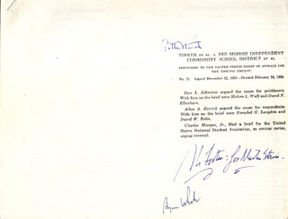 Autographs: ASSOCIATE JUSTICE BYRON R. WHITE - INSCRIBED TYPESCRIPT SIGNED CO-SIGNED BY: ASSOCIATE JUSTICE ABE FORTAS, ASSOCIATE JUSTICE POTTER STEWART