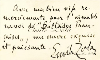 Autographs: EMILE ZOLA - AUTOGRAPH SENTIMENT ON CALLING CARD SIGNED