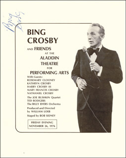 BING CROSBY - PROGRAM SIGNED CIRCA 1976