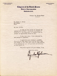 PRESIDENT LYNDON B. JOHNSON - TYPED LETTER SIGNED 01/31/1939