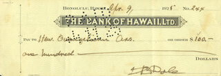 Autographs: SANFORD B. DOLE - CHECK SIGNED 04/09/1925