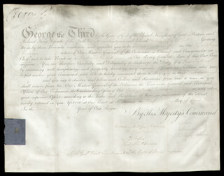 KING GEORGE III (GREAT BRITAIN) - MILITARY APPOINTMENT SIGNED 04/01/1808 CO-SIGNED BY: JOHN (EARL OF CHATHAM) PITT