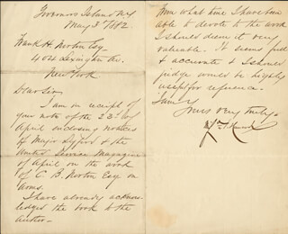 MAJOR GENERAL WINFIELD SCOTT HANCOCK - MANUSCRIPT LETTER SIGNED 05/03/1882