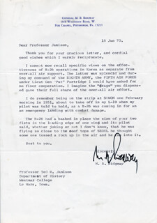 GENERAL MATTHEW B. RIDGWAY - TYPED LETTER SIGNED 06/18/1970