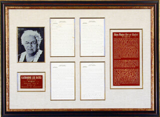 Autographs: KATHARINE LEE BATES - TYPED LETTER SIGNED 01/14/1924