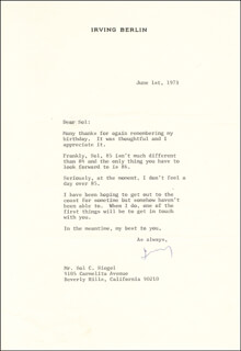 Autographs: IRVING BERLIN - TYPED LETTER SIGNED 06/01/1973