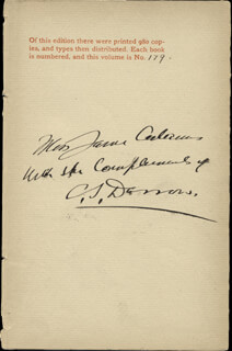 CLARENCE DARROW - INSCRIBED BOOK PAGE SIGNED