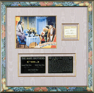 THE MARX BROTHERS - AUTOGRAPH CO-SIGNED BY: HARPO (ADOLPH) MARX, CHICO (LEONARD) MARX, GROUCHO (JULIUS) MARX
