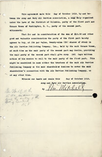 MAJOR GENERAL WILLIAM BILLY MITCHELL - DOCUMENT SIGNED 10/1919 CO-SIGNED BY: A. F. FULLER