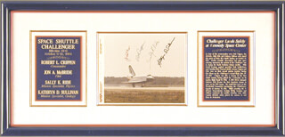 SALLY K. RIDE - AUTOGRAPHED SIGNED PHOTOGRAPH CO-SIGNED BY: CAPTAIN ROBERT BOB CRIPPEN, CAPTAIN JON A. McBRIDE, CAPTAIN KATHRYN D. SULLIVAN