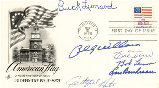 HALL OF FAME BASEBALL - FIRST DAY COVER SIGNED CO-SIGNED BY: BILLY WILLIAMS, LOU BOUDREAU, BOB LEMON, BOBBY DOERR, JIM CATFISH HUNTER, BUCK LEONARD