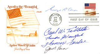 ENOLA GAY CREW - FIRST DAY COVER SIGNED CO-SIGNED BY: ENOLA GAY CREW (THEODORE VAN KIRK), ENOLA GAY CREW (JACOB BESER), ENOLA GAY CREW (GEORGE R. CARON), ENOLA GAY CREW (PAUL W. TIBBETS), ENOLA GAY CREW (COLONEL THOMAS W. FEREBEE)