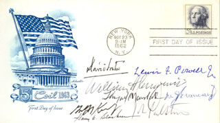 CHIEF JUSTICE WILLIAM H. REHNQUIST - FIRST DAY COVER SIGNED CO-SIGNED BY: ASSOCIATE JUSTICE ANTHONY M. KENNEDY, ASSOCIATE JUSTICE LEWIS F. POWELL JR., ASSOCIATE JUSTICE DAVID H. SOUTER, ASSOCIATE JUSTICE WILLIAM J. BRENNAN JR., ASSOCIATE JUSTICE THURGOOD MARSHALL, ASSOCIATE JUSTICE HARRY A. BLACKMUN, ASSOCIATE JUSTICE JOHN PAUL STEVENS