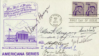Autographs: CHIEF JUSTICE WARREN E. BURGER - FIRST DAY COVER SIGNED CO-SIGNED BY: ASSOCIATE JUSTICE BYRON R. WHITE, ASSOCIATE JUSTICE ANTHONY M. KENNEDY, ASSOCIATE JUSTICE LEWIS F. POWELL JR., ASSOCIATE JUSTICE DAVID H. SOUTER, ASSOCIATE JUSTICE SANDRA DAY O'CONNOR, ASSOCIATE JUSTICE WILLIAM J. BRENNAN JR., CHIEF JUSTICE WILLIAM H. REHNQUIST, ASSOCIATE JUSTICE JOHN PAUL STEVENS